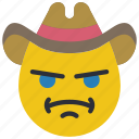 angry, cowboy, emojis, emotion, ruslter, smiley, west icon
