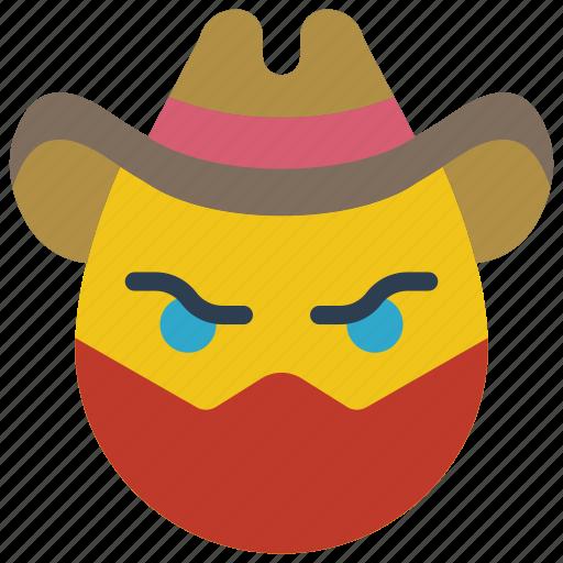 cowboy, criminal, emojis, highway, masked, robber icon
