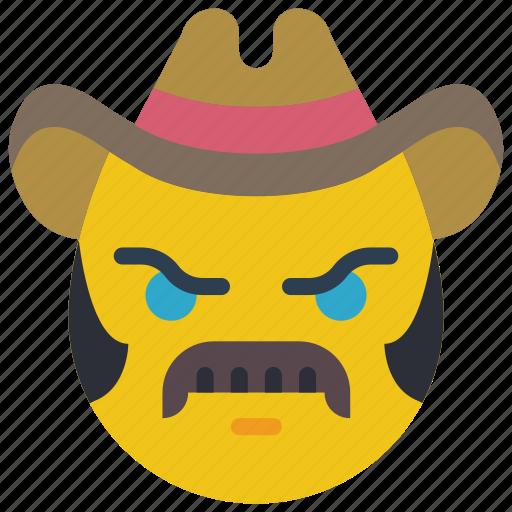 brokeback, cowboy, emojis, emotion, mustache, smiley, tash icon