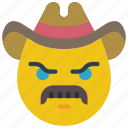 angry, cowboy, emojis, emotion, mustache, smiley icon