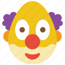 clown, emojis, emotion, scary, smiley icon