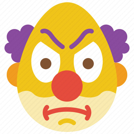 angry, clown, emojis, emotion, scary, smiley icon
