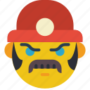 emojis, emotion, miner, moustache, smiley, worker icon