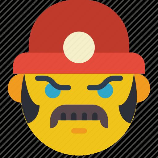 emojis, emotion, miner, moustache, smiley, worker icon