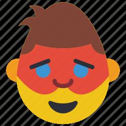 emojis, emotion, happy, hero, man, masked, robin icon