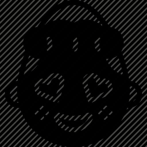 emojis, emotion, face, girl, happy, love, shy icon