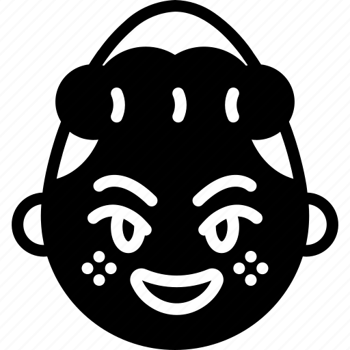 emojis, emotion, evil, face, girl, happy, shy icon