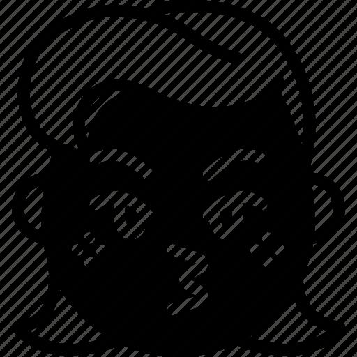 emojis, emotion, face, girl, kiss, smiley icon