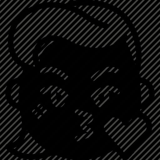 emojis, emotion, face, girl, kiss, love, smiley icon
