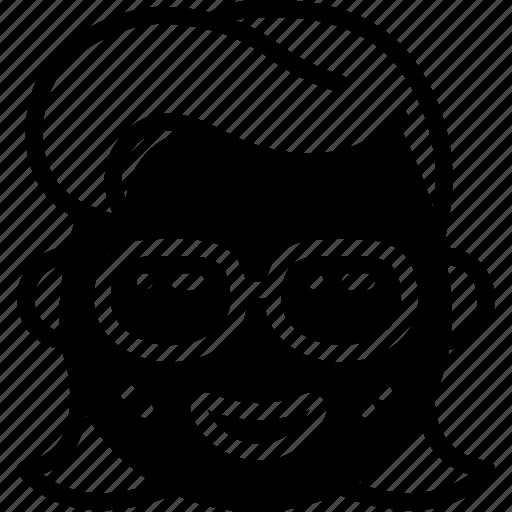 emojis, emotion, face, girl, glasses, happy, smiley icon