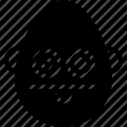 bold, emojis, emotion, face, man, smiley, straight icon