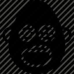 bold, emojis, emotion, face, man, smiley, yawn icon