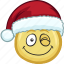 cartoon, christmas, emoji, hat, holiday, santa icon