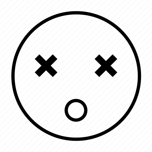 dead, die, emoticon, expired, lost, roundedwhite icon