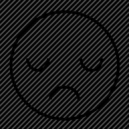 depress, emoticon, feeling, grieve, roundedwhite, sadness icon