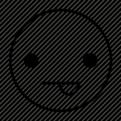emoticon, emotion, feeling, joking, playful, roundedwhite icon