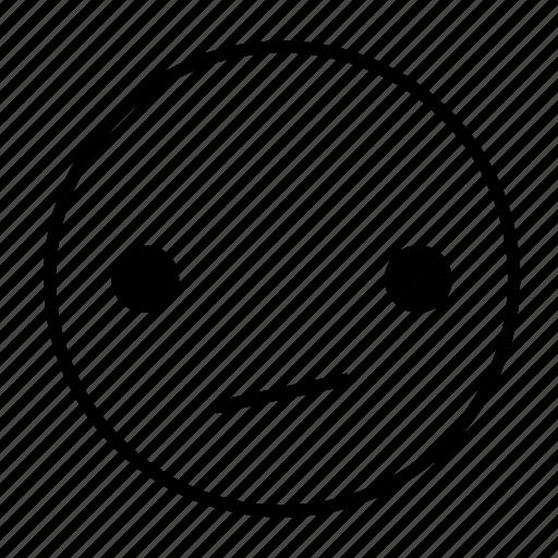apathetic, boring, emoticon, feeling, meh, roundedwhite icon