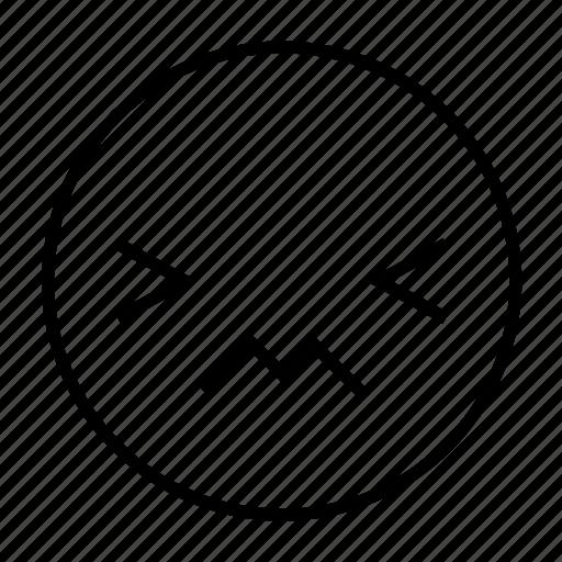 emoticon, feeling, hurt, pain, painful, roundedwhite icon