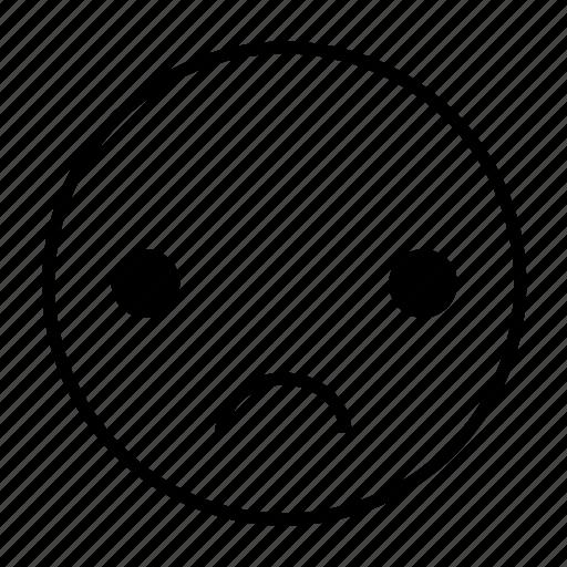 depress, disappointed, emoticon, roundedwhite, sad, sorrow icon