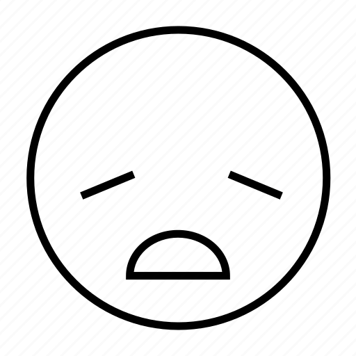 emoticon, emotion, exhausted, roundedwhite, sick, tired, wither icon