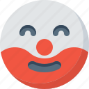 clown, emoticon, emotion, expression, face, smile, smiley