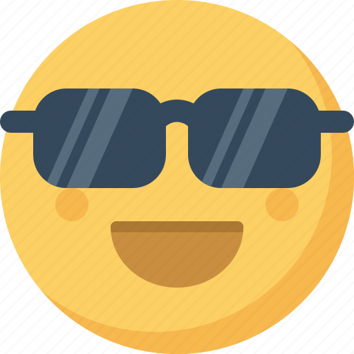 cool, emoticon, emotion, expression, face, smiley, sunglasses icon