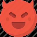 devil, emoticon, emotion, evil, expression, face, smiley