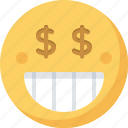 emoticon, emotion, expression, face, greed, smiley icon