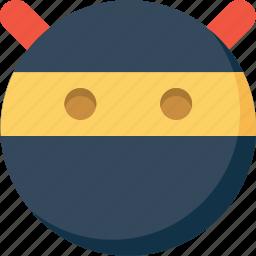 emoticon, emotion, expression, face, ninja, smiley icon