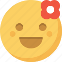emoticon, emotion, expression, face, flower, romantic, smiley