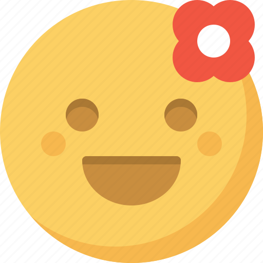 emoticon, emotion, expression, face, flower, romantic, smiley icon