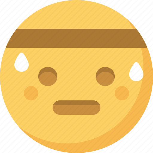 emoticon, emotion, expression, face, smiley, sweating icon
