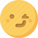 emoticon, emotion, expression, face, smiley, wink icon