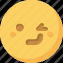 emoticon, emotion, expression, face, smiley, wink