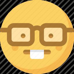 emoticon, emotion, expression, face, smart, smiley, wunderkind icon