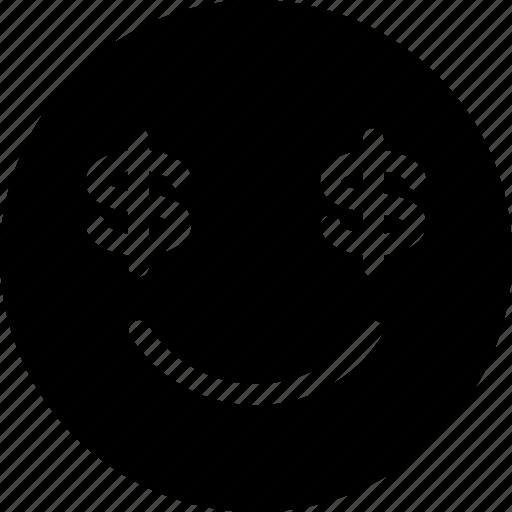 emoticon, expression, eye, face, money icon