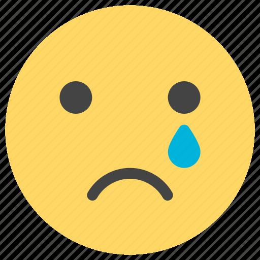 cry, emoticons, sad, smiley, tear, unhappy icon
