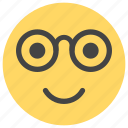 cheerful, emoticons, geek, glasses, happy, nerdy, smiley icon