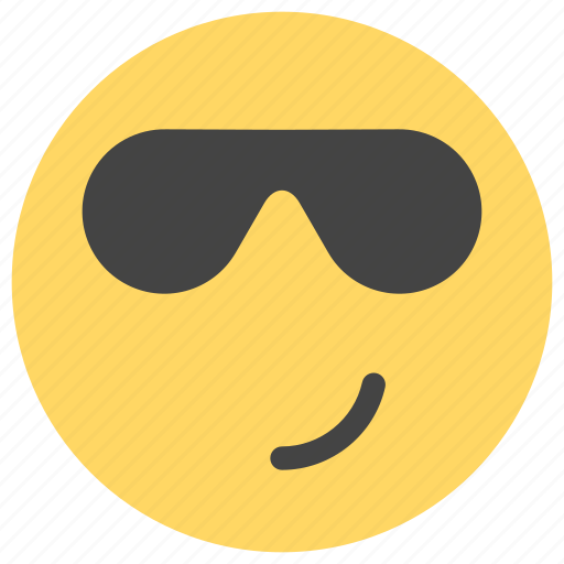 cheerful, cool, emoticons, happy, smile, smiley, sunglasses icon