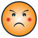 angry, emoji, emoticon, enraged, face, puzzled, upset icon