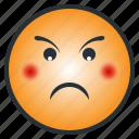 angry, emoji, emoticon, enraged, face, puzzled, upset icon