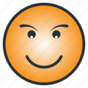 confidence, emoji, emoticon, happy, laugh, pleasant, smile icon