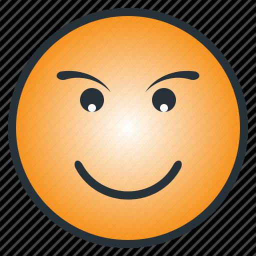 confidence, emoji, emoticon, happy, laugh, pleasant, smile icon