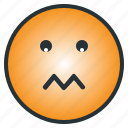 depressed, disappoint, emoji, emoticon, sad, shocked, worry icon