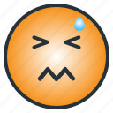 confused, difficult, emloticon, emoji, hard, hurt, shocked icon