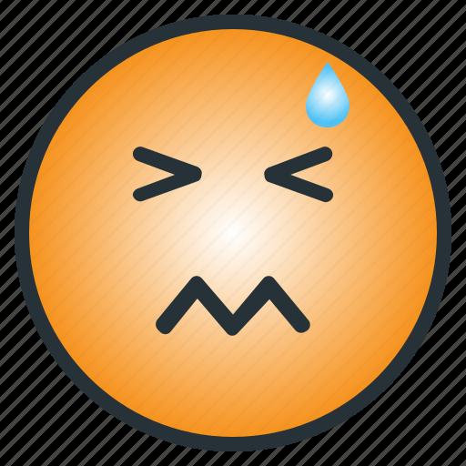 confused, difficult, emloticon, emoji, hard, hurt, shocked icon