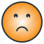 depressed, emoji, emoticon, face, gloomy, sad, worry icon