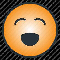cheerful, emoji, emoticon, enjoyful, happy, laugh, pleasant icon