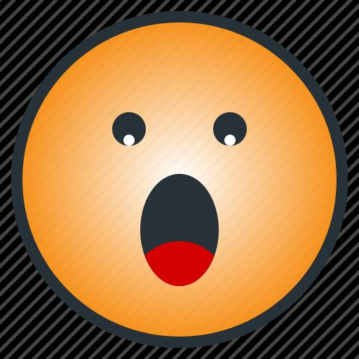 astonished, emoji, emoticon, shocked, suprise, terrible, upset icon
