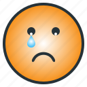 depressed, emoji, emoticon, face, sad, tear icon